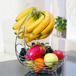 MODERN STAINLESS STEEL CHROME PLATED FRUIT & VEG BASKET BOWL BANANA HANGER SHELF