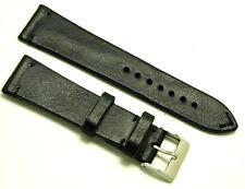 23mm Vintage BLACK Genuine Leather Watch Strap Handmade Silver Matte Buckle