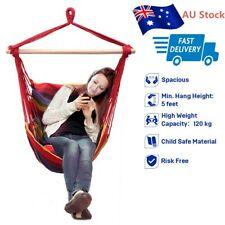 Hanging Rope Hammock Chair Swing Seat for Indoor Outdoor With 2 Seat Cushion