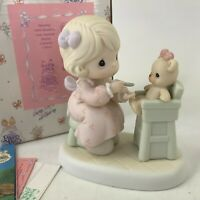 Precious Moments Sharing 1994 Members Only 1994 Girl Feeding Teddy High Chair
