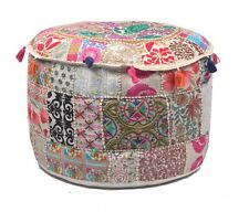 Embroidered Round Pouf Foot Stool Cotton Ottoman Poofs Cover