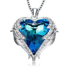 BLUE LOVE HEART PENDANT NECKLACES - WOMEN LADY VALENTINE'S DAY BIRTHDAY GIFTS