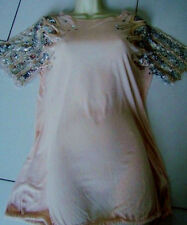 South Embroidered Lounge Luxe Nude Pink Glitter Sequins Kimono Sleeves Top 12