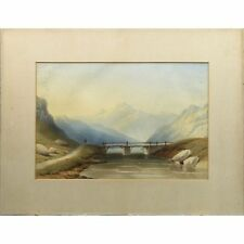 Antique Scottish Highland Mountain River Landscape Watercolour Painting