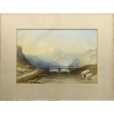Antique Scottish Highland Mountain River Landscape Watercolour Painting