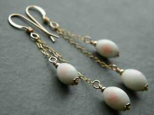 Art Deco Faux Angel Skin Coral White & Pink URANIUM Glass & Rolled Gold Earrings