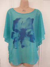 Izabel London UK 10 blue green silky sheer loose fitting top with blue flower