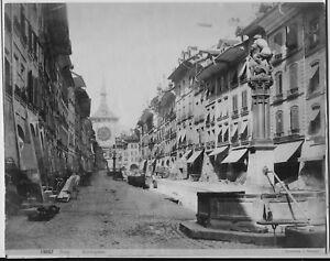 Original albumen print photograph 1888 Bern Marktgasse  Sommer Napoli fpp3