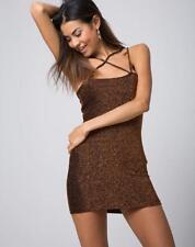 d8be952d MOTEL ROCKS Felice Bodycon Dress in Glitter Lurex Bronze Size S Small (mr51)