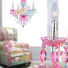 Kronleuchter Decken Pendel Landhaus Hänge Lampe bunt Kristalle Chrom Ess Zimmer