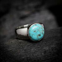 925 Sterling Silver Certified Handmade Turquoise Gemstone Christmas Mens Ring
