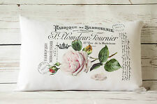 """Fabrique Rose - 12 x 18 """" lumbar style cushion cover shabby vintage chic"""