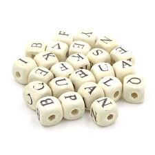 50Pcs Wood Letter Alphabet DIY Cube Beads Dice 10x10mm Intellectual Development