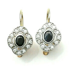 Earrings to Hook Earwire Yellow Gold 18 CT Sapphires Zircons Gioielleria Amadio