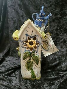 "Blue Sky Clayworks Heather Goldminc 2001 Four Seasons Spring Tea Light House 12"""