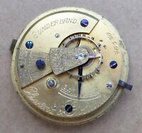 Fusee pocket watch for repair, Olswang & Golding Sunderland, 50mm.