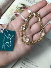 Multi Chain 18k Gold-Clad By New$255 Rivka Friedman bracelet 7� Rock Crystal