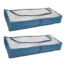 2 Stück Unterbett Kommoden Unterbettkommode Unterbett Kommode atmungsaktiv BLAU