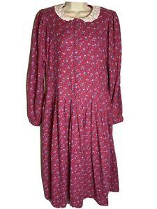 Vintage 1980's Ladies Laura Ashley Floral Cotton Prairie  Dress Size 12 ( C4)