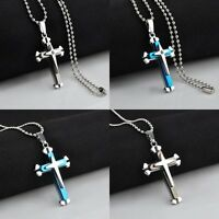 Fashion Unisex's Men Stainless Steel Cross Necklace Pendant Chain Jewelry Hot
