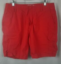 Nautica Men's 8 Pocket Shorts Flat Front 100% Cotton Red Size 34 measures 36Wx9L