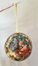 VTG Ball Ornaments Victorian-style decoupage floral musical instruments Lot 22