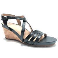 f402110fad2c66 Abeo Women s Sandals Ankle Strap Cork Wedge Heels Black Loretta Metatarsal  Sz 9