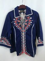 BOB MACKIE WEARABLE ART Embroidered Blue Red Zip Jacket S