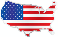 """United States USA Country Flag Map Car Bumper Window Mirror Sticker Decal 5""""X4"""""""