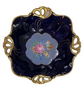 Vtg JLMENAU GRAF VON HENNEBERG ECHT KOBALT BLUE Footed Floral Porcelain Bowl