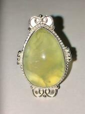 Prehnite Ring 925 7.5 Wicca Spiritual Growth Reveal Truth Vision High Meditation