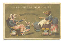 Patriotic trade card - Eagles dressed in American flag clothes  adv soap