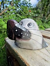More details for fair trade hand carved made wooden grey seal marine sculpture ornament statue
