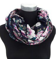 Loop schwarz petrol weiß pink Ella Jonte Blumen Schal Damenschal schwarzer Loop