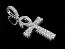Unisex 10k White Gold Pave Genuine Diamond Ankh Cross Pendant Charm 0.25ct 1.4""