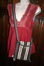 Boho hippy unisex cross body bag small ethnic aztec yoga fabric canvas