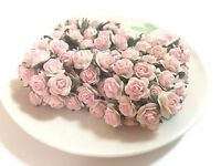 20 Mini Light Pink Roses Mulberry Paper Flowers Wedding Card Scrapbook Dolls 1cm