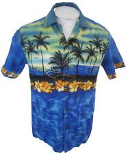 Winnie Fashion Men Hawaiian ALOHA shirt pit to pit 21 M camp silhouette luau VTG
