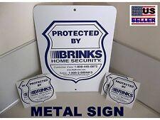 LARGE METAL Home Alarm Security Yard Sign+4 stickers BRINKS