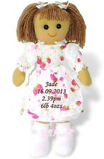 More details for personalised rag doll baby's 1st birthday christening flowergirl bridesmaid gift