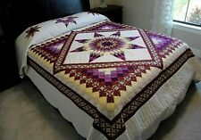 NEW~ AMISH HANDMADE PATCHWORK QUILT~ LANCASTER PA.~  STARS IN COMMON 100x112