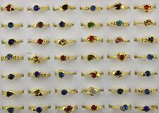 Job Lots 50pcs Plated Golden crystal Rhinestone colorful Lady's rings