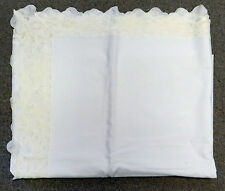 Vintage Holiday Table Cloth Formal White Floral Lace Trim Rectangle 88 x 65