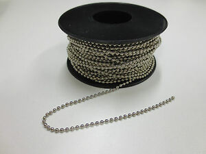 2.4mm Ball Bead Chain - Nickel Plated Brass (Shiny Silver Colour) - 5m Lengths