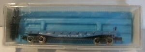 Atlas N Gauge 2372 Boston & Maine Blue Flat Bogie Wagon 3201 + Posts Unused