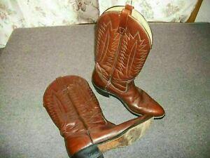 Mason Chippewa Falls Boots 10 1/2 C  Brown Leather Vintage USA Cowboy Western