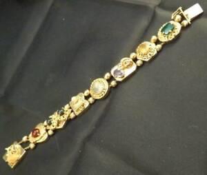 14K Yellow Gold Slide Gemstone Panel Charm Bracelet 7.5 Inch 112519