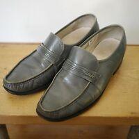 Vintage 70s Stuart McGuire Grandpa Gray Leather Moccasins Mod Loafers 9.5D 43