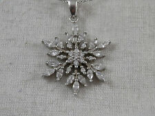 """Snowflake Sterling Silver pendant necklace 925 Silver CZ  20"""" chain"""