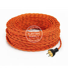 Orange Cordset - Cloth Covered Twisted Rewire Set - Antique Lamp & Fan Cord